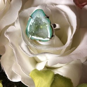 Natural handmade geode ring size 8